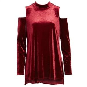 HALOGEN Cut Off Shoulder Long Sleeve Velvet Dress